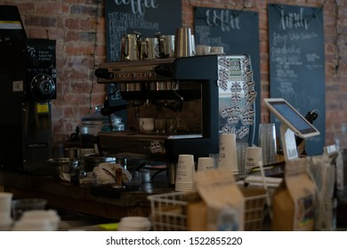 Charleston WV / US - October 04 2019: Expresso machine in a local coffee shop