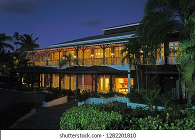 CHARLESTOWN, NEVIS -17 NOV 2018- Night view of the Four Seasons Nevis hotel, a luxury resort located on Pinney's Beach at the foot of the Nevis Peak volcano and the Caribbean Sea.