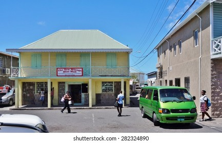 CHARLESTOWN, NEVIS -20 MARCH 2014- Downtown Charlestown, the capital of Nevis in the Federation of St Kitts and Nevis in the West Indies. This Caribbean town was the birthplace of Alexander Hamilton.