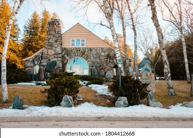 Charlevoix, MI /USA - March 2nd 2018:  Another Earl Young Mushroom House found in Charlevoix Michigan