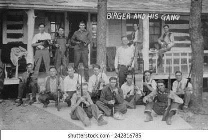Charlie Birger (1881-April 19, 1928) and his gang. Before prohibition he was a saloon keeper and then became a bootlegger operating from Harrisburg, Illinois.