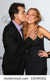 """Charlie Sheen, Lindsay Lohan at the """"Scary Movie V"""" Premiere, Cinerama Dome, Hollywood, CA 04-11-13"""