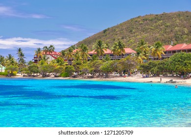 Charlotte Amalie, Saint Thomas, US Virgin Islands-2 August, 2017: Famous Sapphire beach on St. Thomas island, one of the most scenic Caribbean beaches