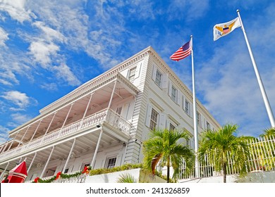 CHARLOTTE AMALIE, ST THOMAS, US VI - DECEMBER 18: Gracious three story Government house in Charlotte Amalie on December 18, 2014. The house has beautifully intricate ironwork along the balconies.