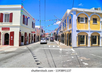 Charlotte Amalie, U.S. Virgin Islands-20 May, 2017: Charlotte Amalie historic center and shopping district