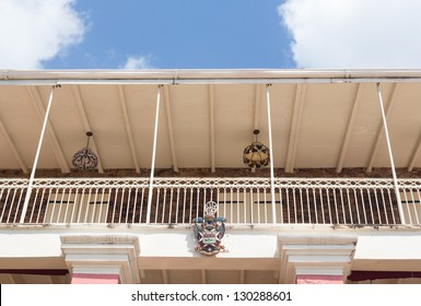 CHARLOTTE AMALIE,ST THOMAS,USVI - FEBRUARY 21: Detail of balcony of 1829 Hotel in Charlotte Amalie on February 21, 2013. This small hotel was built in 1829 by Alexander Lavalette