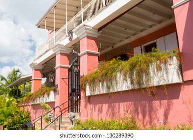 CHARLOTTE AMALIE,ST THOMAS,USVI - FEBRUARY 21: Entrance to 1829 Hotel in Charlotte Amalie on February 21, 2013. This small hotel was built in 1829 by Alexander Lavalette