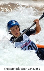 CHARLOTTE - APRIL 26: Arce Gaston of Argentina competes in the Olympic Team Trials for Whitewater Slalom at the U.S. National Whitewater Center on April 26, 2008 in Charlotte, NC.