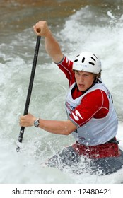 CHARLOTTE - APRIL 27: Cameron Smedley competes in the Olympic Team Trials for Whitewater Slalom at the U.S. National Whitewater Center on April 27, 2008 in Charlotte, NC.