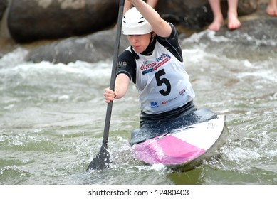 CHARLOTTE - APRIL 27: Colleen Hickey of the USA competes in the Olympic Team Trials for Whitewater Slalom at the U.S. National Whitewater Center on April 27, 2008 in Charlotte, NC.