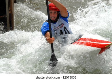 CHARLOTTE - APRIL 27: Connor Curson of the USA competes in the Olympic Team Trials for Whitewater Slalom at the U.S. National Whitewater Center on April 27, 2008 in Charlotte, NC.