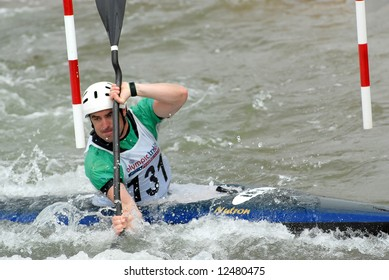 CHARLOTTE - APRIL 27: Neil Caffrey of Ireland competes in the Olympic Team Trials for Whitewater Slalom at the U.S. National Whitewater Center on April 27, 2008 in Charlotte, NC.