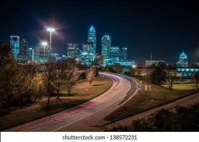 Charlotte City Skyline and architecture at night