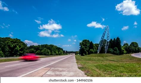 charlotte city skyline in daylight with carolina blue sky