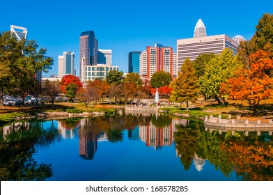 charlotte city skyline from marshll park autumn season with blue sky