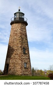 Charlotte Genesee Lighthouse, built in 1822, is located on Lake Ontario in Rochester, New York, USA was deactivated in 1881 and is now a museum owned by the county.