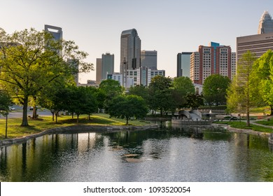 CHARLOTTE, NC - APRIL 18, 2018: City skyline of Charlotte North Carolina from Marshall Park