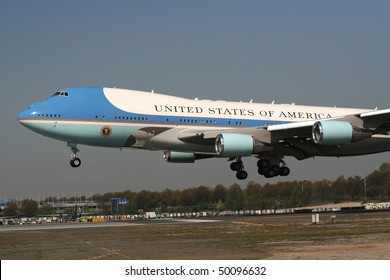 CHARLOTTE, NC - APRIL 2: Air Force One lands on Good Friday, April 2, 2010 in Charlotte. President Obama visits Charlotte NC to proclaim worst is over in the Economy on April 2, 2010 in Charlotte, North Carolina