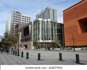CHARLOTTE, NC - FEBRUARY 23, 2014: Knight Theater, at the Levine Center for the Arts, is the home theater to the Charlotte Ballet and shares a lobby with the Bechtler Museum of Modern Art downtown.