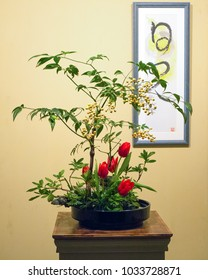 CHARLOTTE, NC - February 23, 2018: The Japanese art of Ikebana flower arranging on display at the Southern Spring Home & Garden Show.