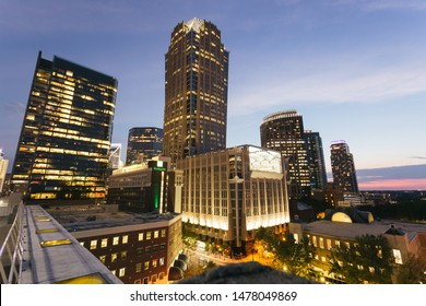 Charlotte, NC - July 10, 2019: Wide View of night downtown skyline in the city of Charlotte in North Carolina.