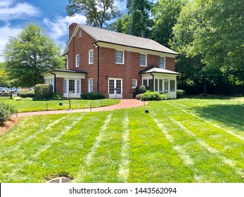 Charlotte, NC - July 2, 2019: Childhood home of the famous late Billy Graham in the city of Charlotte, which has been relocated here from few miles away.