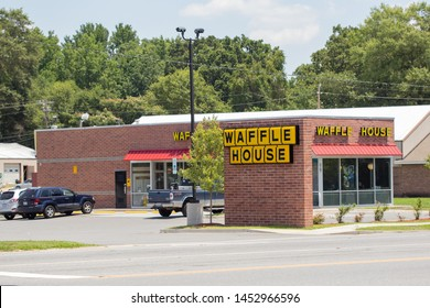 Charlotte, NC - July 2, 2019: Waffle House restaurant with Southern style meals.