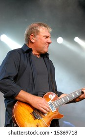 CHARLOTTE, NC - JULY 20:Guitar player Alex Lifeson of Rush performs onstage at Verizon Wireless Amphitheater July 20, 2008 in Charlotte NC.