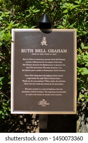 Charlotte, NC - July 4, 2019: The plaque seen at the burial site of Billy Grahams' wife Ruth Bell Graham in Charlotte.