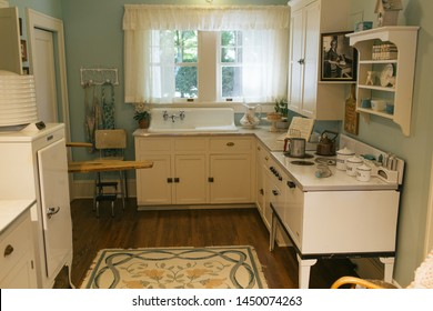 Charlotte, NC - July 4, 2019: The kitchen from early 20th century where the late Billy Graham grew up as a child.