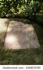 Charlotte, NC - July 4, 2019: The tomb stone for late preacher Billy Graham in Charlotte.