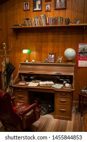 Charlotte, NC - July 5, 2019: Old style vintage working desk of late Billy Graham inside the Library.