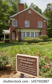 Charlotte, NC - July 5, 2019: Homeplace of Graham Family where young Bill Graham grew up as a child. Focus on house.