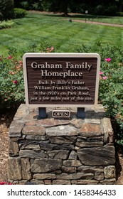 Charlotte, NC - July 5, 2019: Graham Family  Homeplace sign on the premises of the Billy Graham Library in Charlotte .