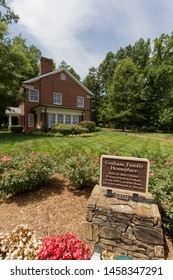 Charlotte, NC - July 5, 2019:The Graham Family Home where Billy Graham grew up. Moved to its final destination at the Library.