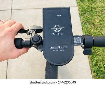 Charlotte, NC - July 8, 2019: Closeup of a BIRD electric rental scooter steering column and QR code on the sidewalk.