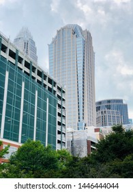 Charlotte, NC - July 8, 2019: Partial view of downtown skyline with a parking structure in foreground.