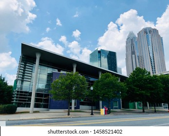 Charlotte, NC - July 8, 2019: Empty street with tall office buildings in the back in downtown Charlotte.
