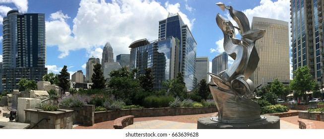 CHARLOTTE, NC - JUNE 19, 2017: Panoramic view of downtown Charlotte, NC as seen from Romare Bearden park