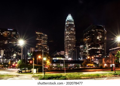 CHARLOTTE, NC - JUNE 25, 2014. Skyscrapers of downtown, uptown of Charlotte at night