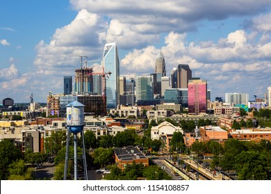 Charlotte NC skyline on a hot summer day