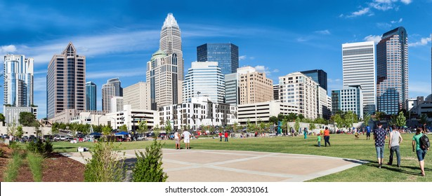 Charlotte, NC. United States. July 4, 2014. Panoramic view at uptown