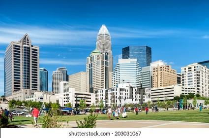 Charlotte, NC. United States. July 4, 2014. View at Uptown daylight