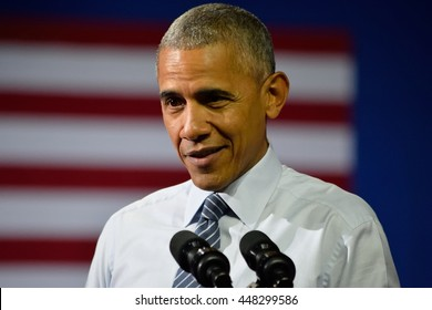 CHARLOTTE, NC, USA - JULY 5, 2016: President Barack Obama smiling speaks at a rally for the presumptive democratic nominee at the Charlotte Convention Center.