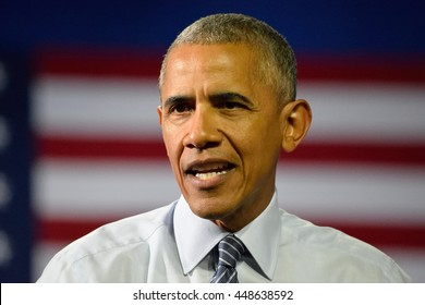 CHARLOTTE, NC, USA - JULY 5, 2016: President Barack Obama speaks at a campaign rally for the presumptive democratic nominee at the Charlotte Convention Center.