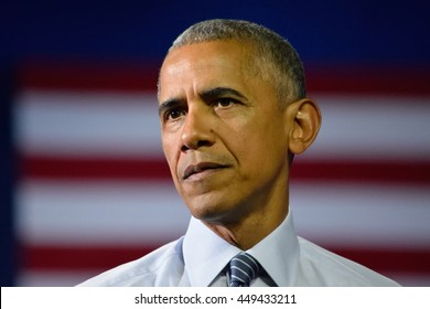CHARLOTTE, NC, USA - JULY 5, 2016: President Barack Obama with a solemn face while delivering a speech at the Charlotte Convention Center.