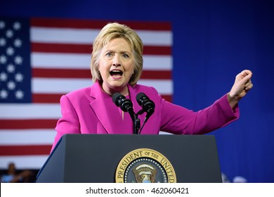CHARLOTTE, NC, USA - JULY 5, 2016: Hillary Clinton makes a pointing gesture as she delivers a speech at a campaign event with US president Barack Obama