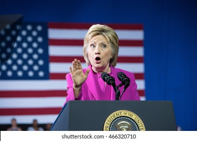 CHARLOTTE, NC, USA - JULY 5, 2016: Hillary Clinton makes a impactful gesture as she delivers a speech at a joint campaign event in the Charlotte Convention Center with President Barack Obama.