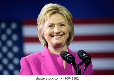 CHARLOTTE, NC, USA - JULY 5, 2016: Hillary Clinton smiles as she delivers a speech at the Charlotte Convention Center in a joint appearance with the US President.
