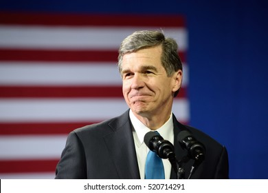 CHARLOTTE, NC, USA - JULY 5, 2016: Roy Cooper Attorney General of North Carolina and candidate for NC Governor speaks at a campaign rally for Hillary Clinton at the Charlotte Convention Center.